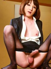 Office Antics with Mari Sora! - Asian ladyboys porn at Thai LB Sex