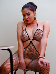 TS Filipina: Fishnet Fantasy - Asian ladyboys porn at Thai LB Sex