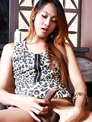 Nude Ladyboy Nhica plays with her very erect cock - Asian ladyboys porn at Thai LB Sex