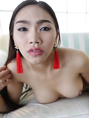 21 year old busty Thai ladyboy strips and sucks tourist cock for a facial