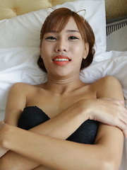 18 year old horny Thai shemale striptease to black panties and hard cock - Asian ladyboys porn at Thai LB Sex