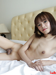 19 year old petite and shy Thai ladyboy striptease - Asian ladyboys porn at Thai LB Sex