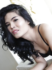 23 year old horny Thai ladyboy with raven hair andfake boobs striptease - Asian ladyboys porn at Thai LB Sex