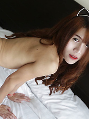 18 year old horny Thai ladyboy with big boobs does a striptease - Asian ladyboys porn at Thai LB Sex