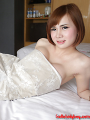20 year old shy Thai ladyboy gets cum on her big tits - Asian ladyboys porn at Thai LB Sex