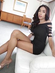 Slender sexy Thai Ladyboy enjoys ass packing from white tourist - Asian ladyboys porn at Thai LB Sex