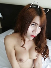 Big-boobed Asian Ladyboy takes hard ass reaming and dribbles cum - Asian ladyboys porn at Thai LB Sex